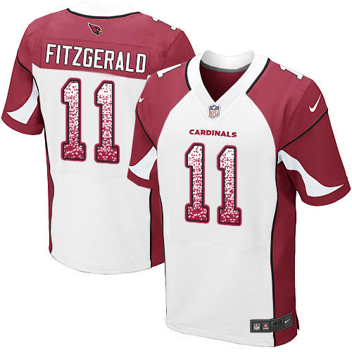 Men's Larry Fitzgerald White Road Elite Football Jersey: Arizona Cardinals #11 Drift Fashion  Jersey